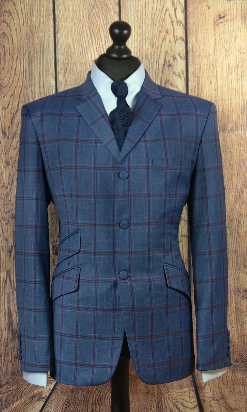 """Edmund"" Three Button Blue & Red Check Suit"
